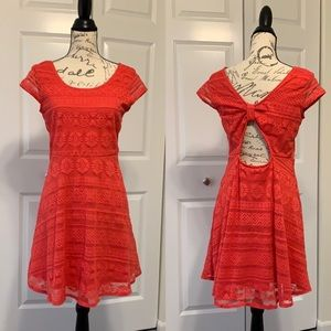 Xhilaration orange/pink lace open back dress